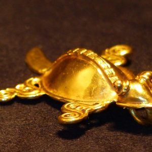 玛雅风格铸龟纯金项链吊坠