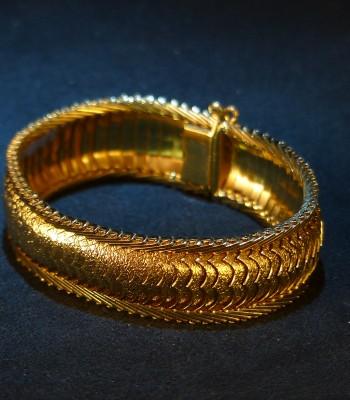 蛇皮型纯金手链