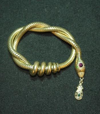 K金 蛇形吞鼠镶钻石手链