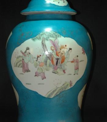 清-开光人物蓝釉将军罐