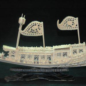 清 象牙雕 乾隆下江南龙船