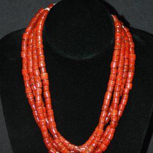 红珊瑚桶珠项链
