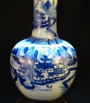 清 康熙 民窑青花山水纹天球瓶