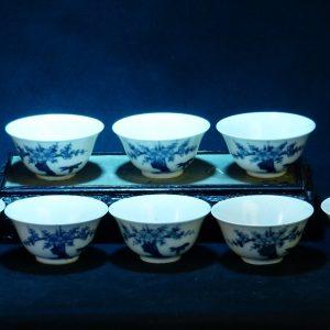 日本著名藏家 大明成化 松竹梅青花茶碗 (8只)