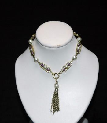 嵌珍珠金手链