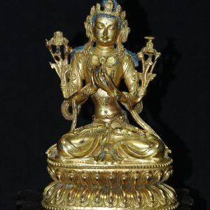 明永乐 铜鎏金文殊菩萨像