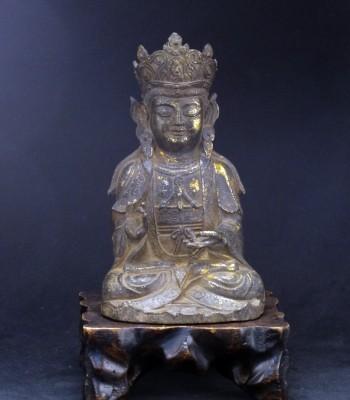 大明 释迦牟尼泥金铜像
