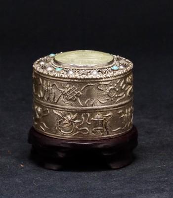 錾八宝镶松石喜字银粉盒
