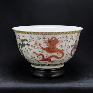 大清康熙年制 矾红粉彩五龙纹大水钵