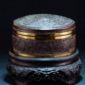 雕椰壳寿字暗八仙沉香盖盒