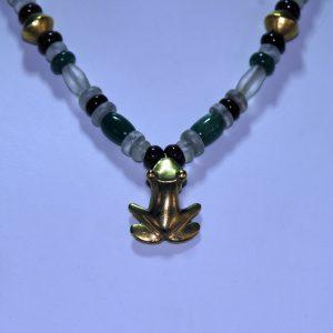 前哥伦比亚时期 金蛙项坠 水晶琉璃串