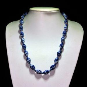 山水纹青花瓷珠项链