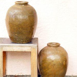 酱釉罐 (对)